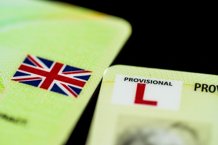 licence: Close up of a UK Provisional Driving Licence.