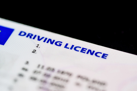 Close up of a UK Driving Licence.