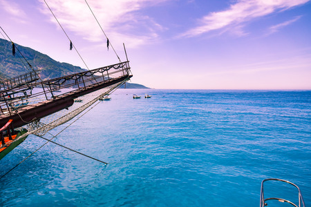 Beautiful view from a bow of yacht at Mediterranean Sea near Turkey Stock Photo