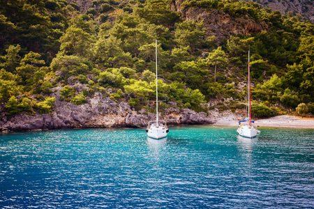 Two yacht moored at bay in Oludeniz Turkey