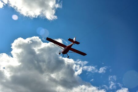 Sport plane and glider in the airshow. Yorkshire gliding club