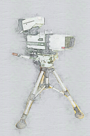 Broadcast Studio Television Camera on Hydraulic tripod, technical drawing