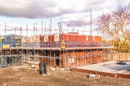 Construction site building a new brick home
