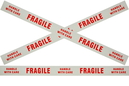 Photo of fragile tape used for securing delicate items for despatch Stock Photo