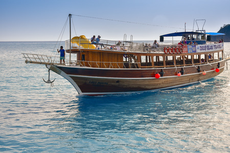 Oludeniz, Turkey - May 11, 2017: A pirate ship in the open sea in the sunny day on Mediterranean Sea during  summer time. Editorial photo.