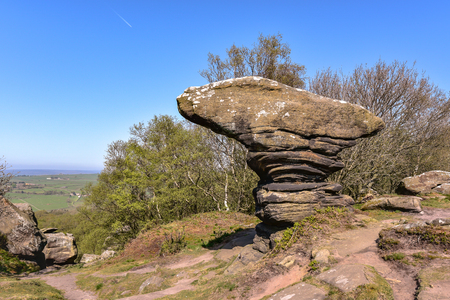 National Trust Brimham Rocks on Brimham moor near Pateley Bridge in Yorkshire Dales National Park