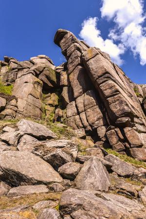 Landscape of Peak District National Park, Derbyshire, Uk popular rock climbing area and scenic mountain