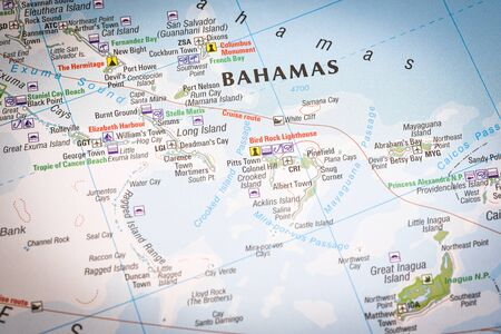 Close up of a world map with Bahamas in focus, a country within the Lucayan Archipelago in the West Indies. Stockfoto