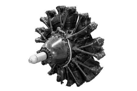 Radial engine from aircraft, on white background. Reklamní fotografie