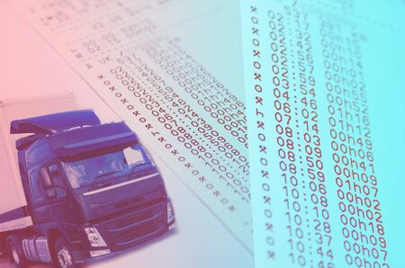 Combination of photo concept helpful for HGV drivers and transport operator Stock Photo