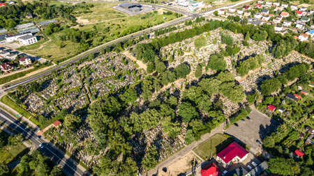 Aerial view of a cementry captured by drone in Ilawa town, Poland