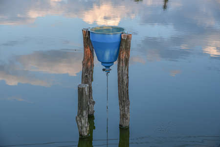Stand alone holder with  food for fish in bucket in the pond