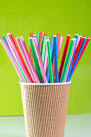 Biodegradable eco-friendly coloful paper straws bundled together used for drinks Stock Photo