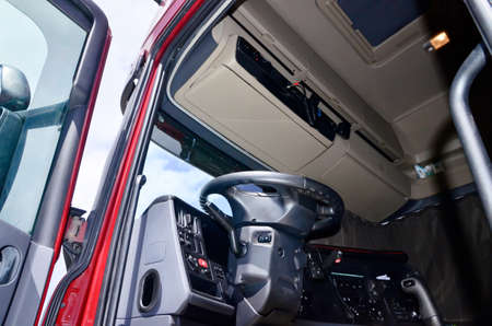 Lorry driver cabin interior and CB radio and steering wheel