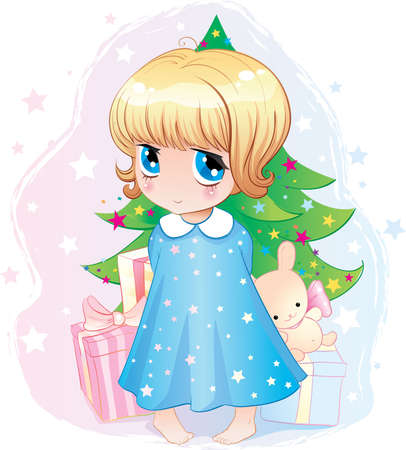 newyear: Illustration in style of anime. Little girl on a background the Christmas tree and gifts. New-year postal.