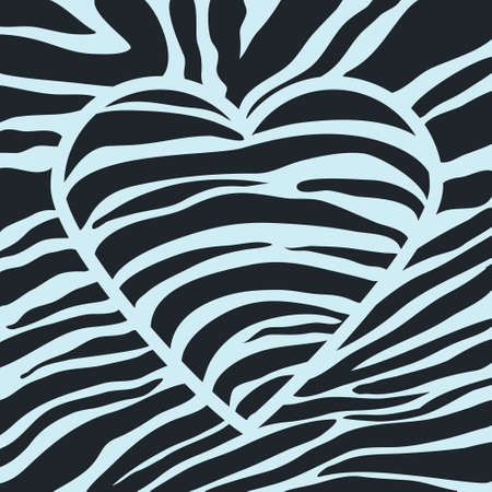 texture of black zebra stripes are decorated in the form of heart Illustration