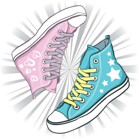 shoelace: shoes blue with stars for men and pink hearts with woman on background gray rays Illustration