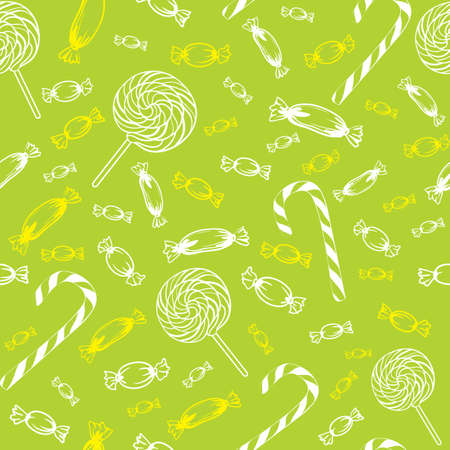 seamless texture of different outline candy caramel striped lollipop in one color on a green background Illustration