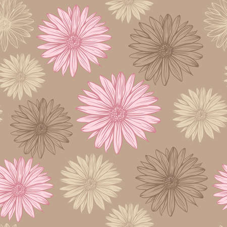 daisy pink: seamless pattern in pastel colors pink and beige flowers on a brown background daisy