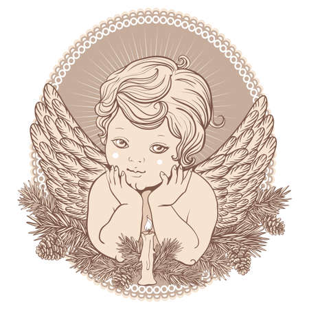 adorned: little angel with wings with a candle in a round frame adorned with branches of spruce and pine cones in retro style Illustration