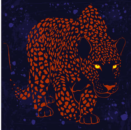 dark eyes: graphic design with leopard spotted coloring and eyes luminous in the night on a dark background Illustration