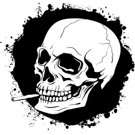 death valley: poster with a graphic pattern of human skull with a cigarette on a black background with a torn texture stained by ink