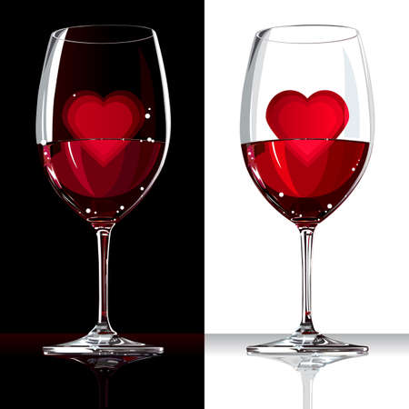 Two wine glasses with red wine and heart inside with reflection on white and black background