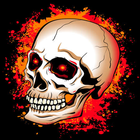red eyes: skull with glowing red eyes on a background of the bright spots  paint Illustration