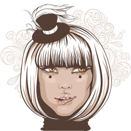 Illustration of an actress wearing a small hat with a feather. 向量圖像