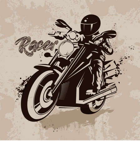 extremesport: Vector illustration, graphic outline of ink, racer on motorcycle in grunge style on beige background Illustration