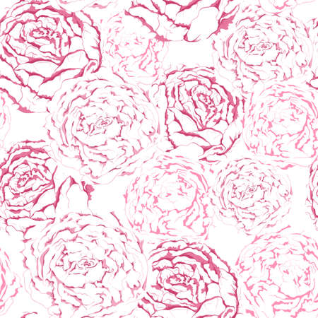 seamless pattern of pink gentle flowers with peonies Illustration
