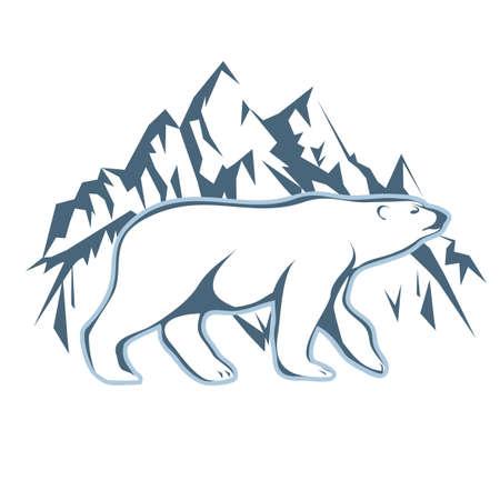 White polar bear drawn against snow mountains. Иллюстрация