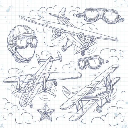 Vector illustration, set icons retro old aircraft on a background of clouds, pilot helmet and glasses pilot drawn on notebook cell
