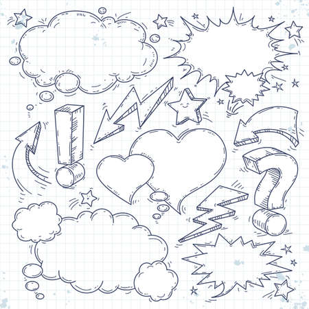 Vector sketch set of think bubble, talk bubble, drawing doodle, lightning and arrow