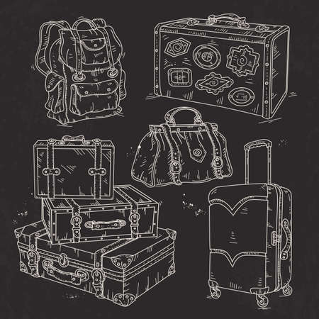Vector illustration, hand sketch icon set, suitcase, bag and backpack for travel drawn on black background