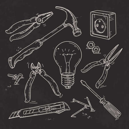 Vector illustration, hand sketch icons set of carpentry tools, lamp, pliers and a hammer drawn on black background Ilustração