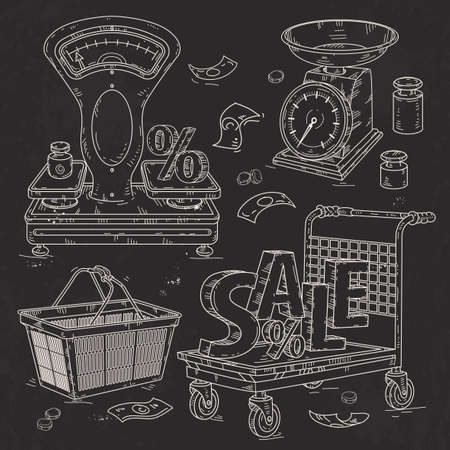 Vector illustration, set icons for supermarket and trade, the trading equipment, scales and shopping trolley and the inscription sale drawn on black background