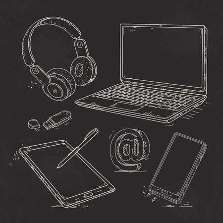 Vector graphics, hand-drawn icon set computer technology, laptop, tablet, smartphone, flash drive and headphones on a black background Ilustração