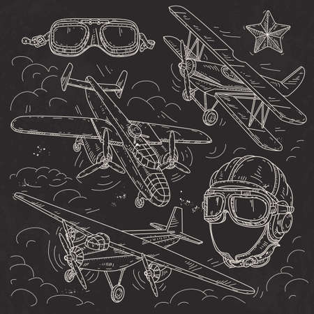 Vector illustration, set icons retro old aircraft on a background of clouds, pilot helmet and glasses pilot drawn on black background Banque d'images - 126900823