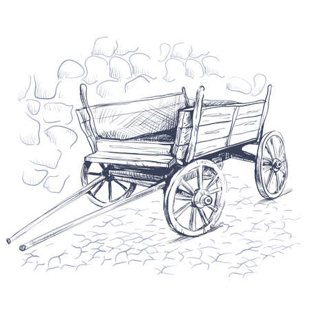 Vector Image pencil drawing, ink, old cart hatching on a stone bridge and a gray background