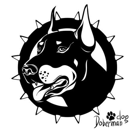 Logo, vector illustration, black and white drawing drawing of a dog of service breed Doberman, fighting dog, on a background of a collar