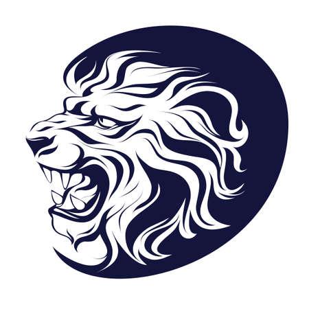 Illustrazione vettoriale, inchiostro da disegno, simbolo araldico, testa di sagoma di profilo di un leone ringhiante su sfondo bianco