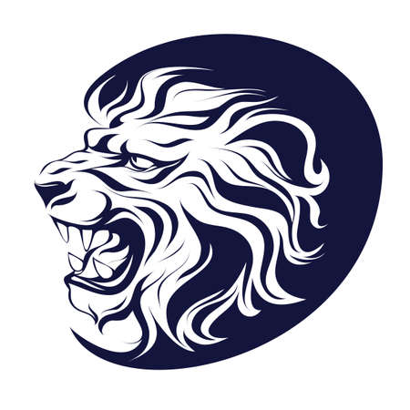 Vector illustration, drawing ink, heraldic symbol, profile silhouette head of a growling lion on a white background