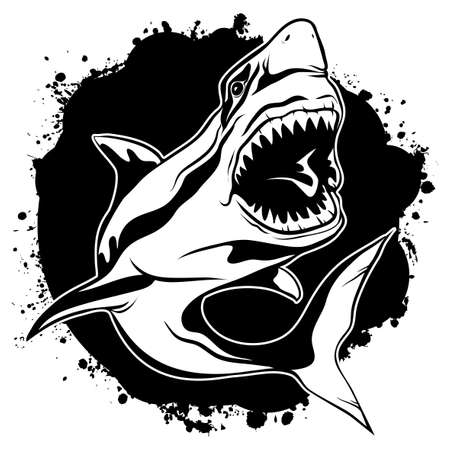 Vector illustration emblem of evil shark with open jaws on background black ink stains Иллюстрация