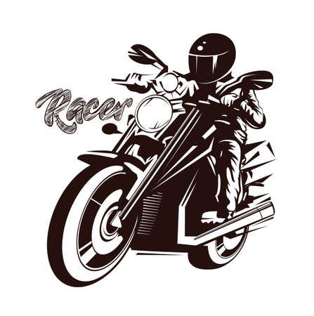 Ilustración de vector, contorno gráfico de tinta, corredor en motocicleta en estilo grunge sobre fondo beige Ilustración de vector
