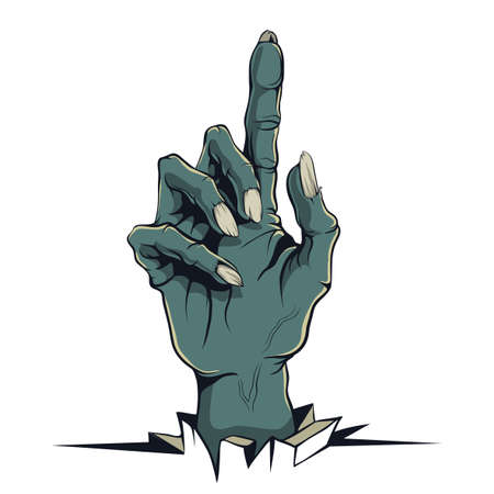 Vector graphics, illustration in the style of a comic zombie hand pointing up