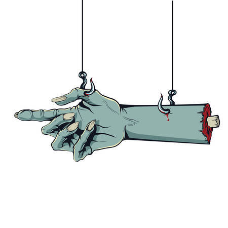 Vector graphics, illustration in the style of a comic Zombie hand hanging on hooks with pointing finger. Ilustração