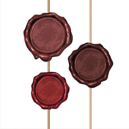 Vector illustration of set of color wax seal and brush the rope on a background of aged paper