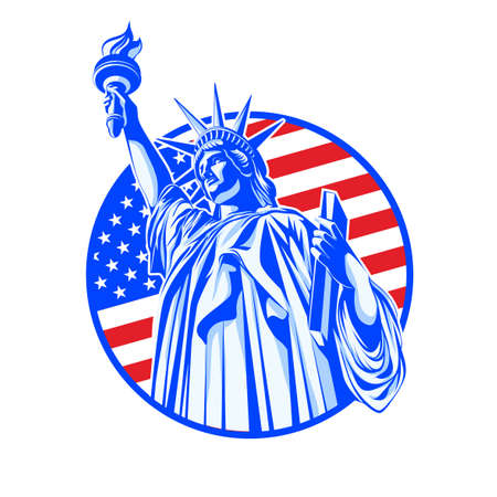 Vector illustration. Sights Of New York. American symbol the silhouette of the statue of liberty in blue on the background of the USA flag in a circle