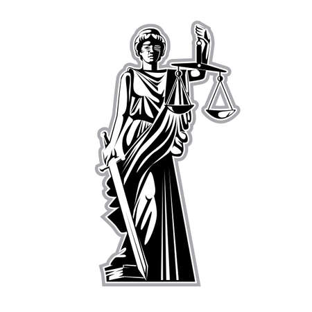 Vector illustration, graphic black and white silhouette, the Greek goddess of justice with blindfold, scales and sword, standing with one foot on the book of the law. Ilustração